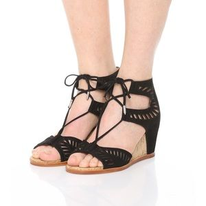 Dolce Vita Black Suede Lace Up Linsey Cork Wedges